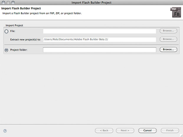 Flash Builder Project dialogue window