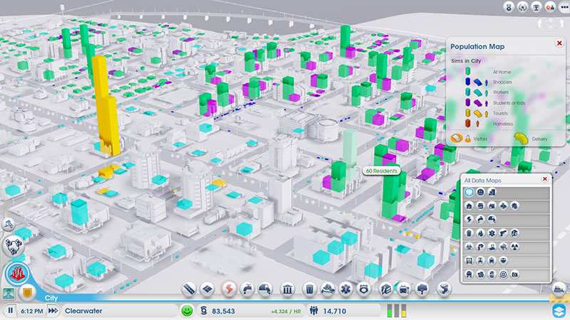Data layers in the latest SimCity