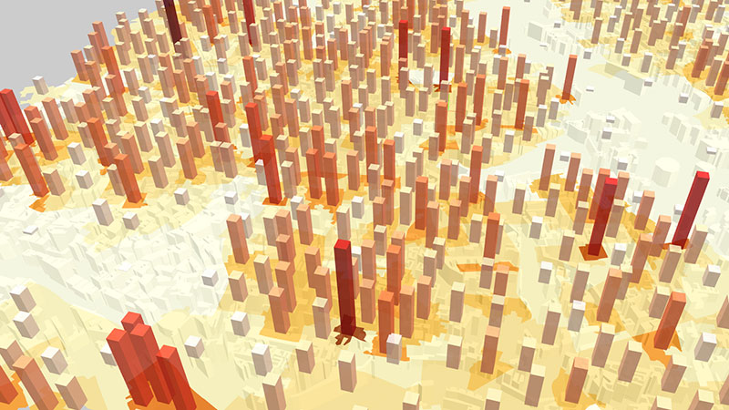 ViziCities: Data layer choropleth, bars, and buildings