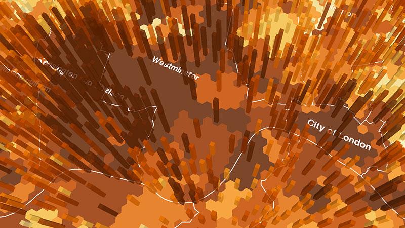 ViziCities: Data hexagons